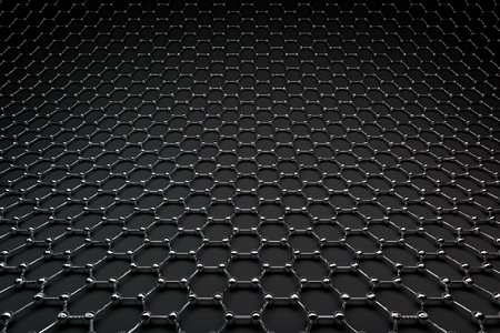 3D rendering of graphene surface, glossy black bonds and carbon atoms Reklamní fotografie