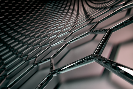 3D rendering of graphene surface, black bonds with carbon glossy structure, glossy surface
