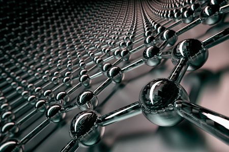 3D rendering of graphene surface, black atoms and bonds with carbon glossy structure, glossy surface Zdjęcie Seryjne