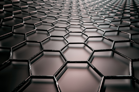 3D rendering of graphene surface, black glossy bonds with carbon glossy structure, glossy surface