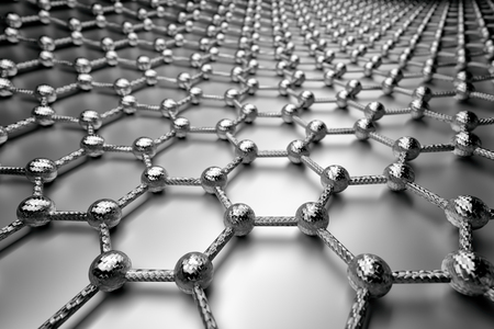 3D rendering of graphene surface, grey atoms and bonds with carbon structure, glossy surface Reklamní fotografie
