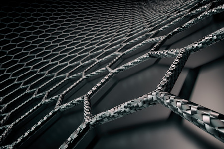 3D rendering of graphene surface, black bonds with carbon structure, glossy surface