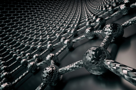 3D rendering of graphene surface, black atoms and bonds with carbon structure, glossy surface