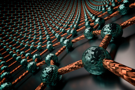 3D rendering of graphene surface, blue atoms and orange bonds, glossy black surface
