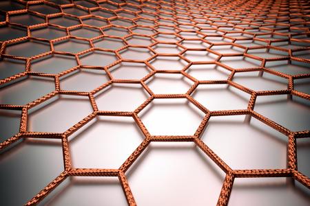 3D rendering of graphene surface, orange bonds, glossy surface
