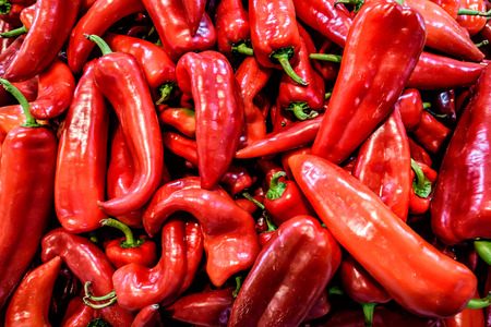 Heap Of Ripe Big Red Peppers
