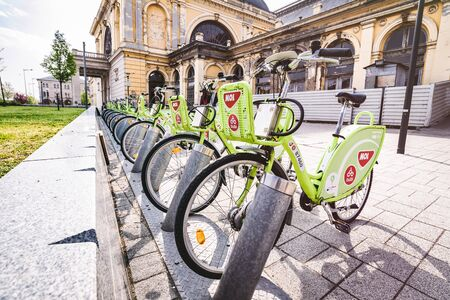 Budapest, Hungaria - April 9 2019: Rental bicycles are found throughout Budapest Hungary