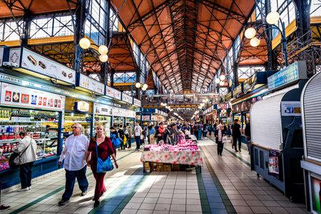 Budapest, Hungaira - April 10 2019: Central Market Hall at Vámház krt Redakční