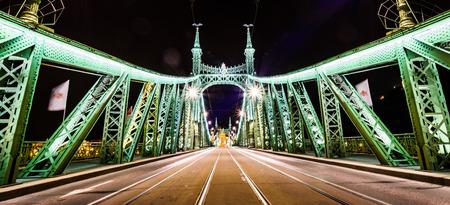 Night photo of Szabadság híd (Liberty Bridge or Freedom Bridge) in Budapest