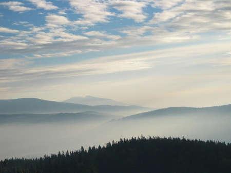arcane: Misty mountain view Stock Photo