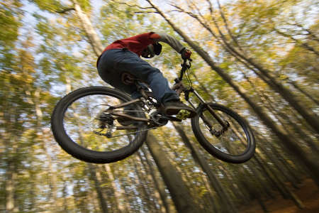 mountain bicycling: Mountain biker jumping in autumn forest