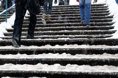 snow covered: Snow covered stairs Stock Photo