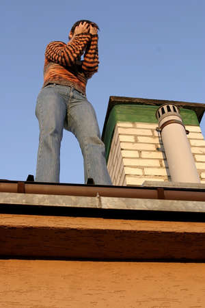 suicidal: Suicidal attempt, a girl standing on the edge of a roof