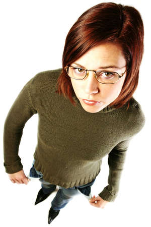 girl, young woman  with empty pockets- having financial problems photo