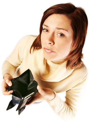 girl, young woman  with empty wallet- having financial problems Stock Photo