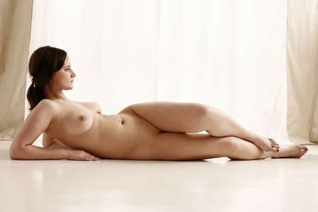 young girl, woman naked in a studio Stock Photo - 568862