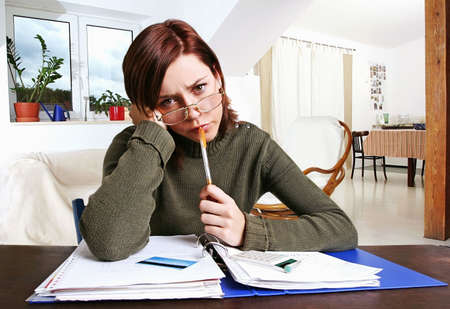 girl, young woman having financial problems Stock Photo - 585171