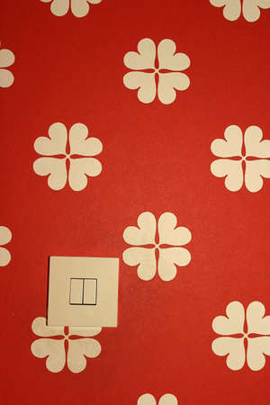 switch on a wall with a flowery red and white wallpaper Stock Photo