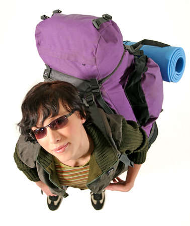 girl, young woman with a backpack and sunglasses-on white Stock Photo