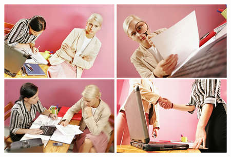 four pictures of work environment- two women over some paperwork in modern office-on pink   Stock Photo