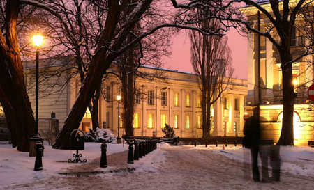 illuminated buildings of the Warsow old tow in winter - trees in a foreground,  Poland      Stock Photo