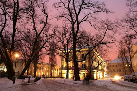 illuminated university  buildings in winter - trees in a foreground, Warsaw, Poland      Stock Photo