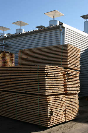 forest products: Lumber being processed at a forest products sawmill-warehouse