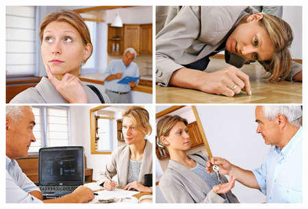 four pictures of real estate agent showing flat to potential clent Stock Photo - 679940