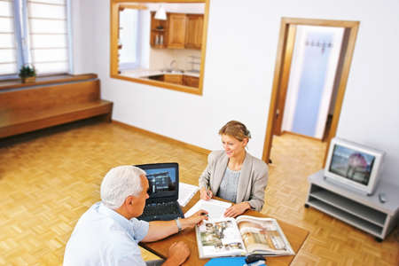 real estate agent showing flat to potential clent Stock Photo - 679917