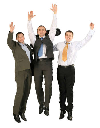 Friendly young group business team jumping.