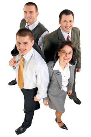 Friendly young group business team.