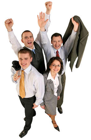 Friendly young group business team celebrate their success
