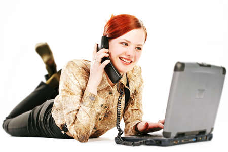 working outside your workplace, woman with laptop and receiver Stock Photo
