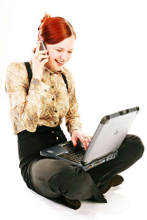 disscuss: working outside your workplace, woman with laptop and mobile phone