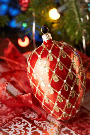 Christmas decoration with red bauble. Stock Photo