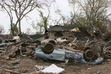 hurricanes: Hurricane Katrina Destruction Stock Photo