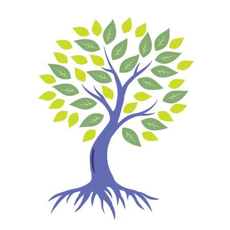 arbol con raices: Estilizado árbol con raíces