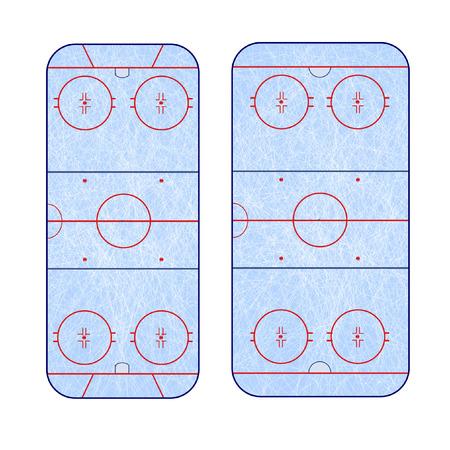 hockey rink: la diferencia en el marcado de la pista de hockey sobre hielo Vectores