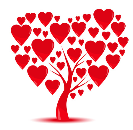 Heart tree with heart leaf isolated on White
