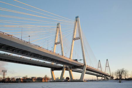 skyway: Big Obukhovsky bridge (cable-stayed) over the Neva river, St. Petersburg, Russia