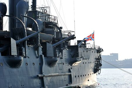 St. Petersburg, Russia - 20 SEPTEMBER: symbol of the October revolution cruiser Aurora on SEPTEMBER 20, 2014, St. Petersburg, Russia