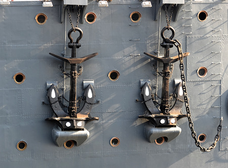 cruiser: anchors on the cruiser Aurora in St. Petersburg, Russia