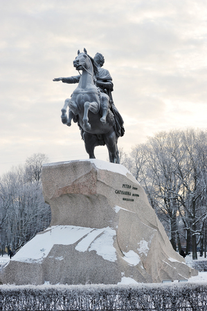 peter the great: ST. PETERSBURG, RUSSIA - JANUARY 09, 2016: the monument of Peter the great - the bronze horseman in St. Petersburg, Russia