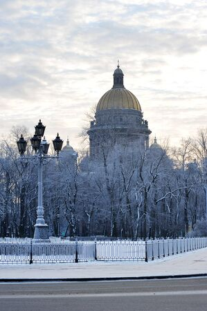 isaac: the St. Isaac Cathedral in winter, St. Petersburg, Russia Stock Photo