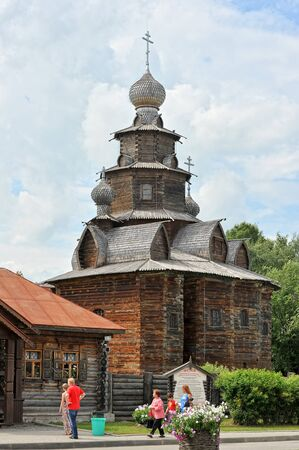 built: Russian old Church built of wood in Suzdal, Russia