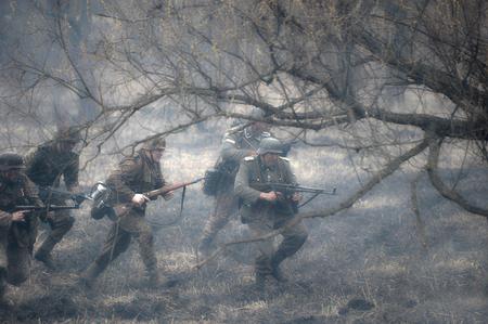 st german: ST. PETERSBURG, RUSSIA - APRIL 26, 2015: military reconstruction battle German troops