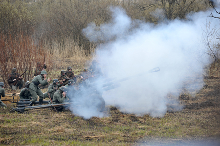 st german: ST. PETERSBURG, RUSSIA - APRIL 26, 2015: military reconstruction battle German troops
