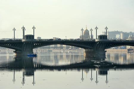 blagoveshchensky: view of the Neva and Blagoveshchensky bridge in St. Petersburg, Russia