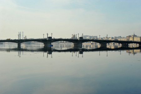 view of the Neva and Blagoveshchensky bridge in St. Petersburg, Russia