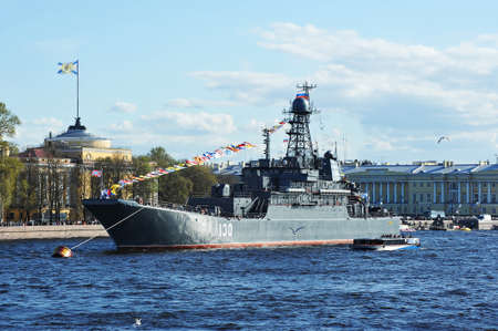 may 9: SAINT-PETERSBURG, RUSSIA: - MAY 9, 2015: The parade of warships on the Neva river in St. Petersburg in honor of 70 years of victory in the great Patriotic war. Large landing ship Korolyov